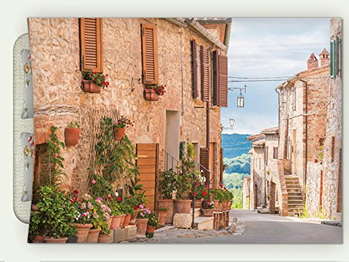 Custom Flannel Throw Blanket Wanderlust Decor Medieval Old Town in Tuscany Mediterranean Historic High Culture Village Town Stones Pho Autumn Winter Warm HD Digitals Print Blanketry, 47