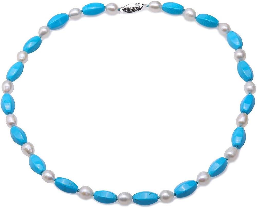 JYX Collar de Piedras Preciosas Turquesa Hecho a Mano, 8 x 14 mm, Turquesa Azul Irregular y Perlas Blancas de 7,5 a 8 mm para Mujer, 45,7 cm