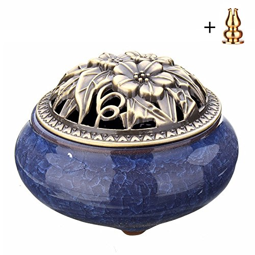 Corasays Ceramic Cone Incense Burner with Calabash Holder, Chinese Antique Style Ice-Patterned Handmade Censer for Xmas Birthday Gifts Home Decor (Sapphire Blue)