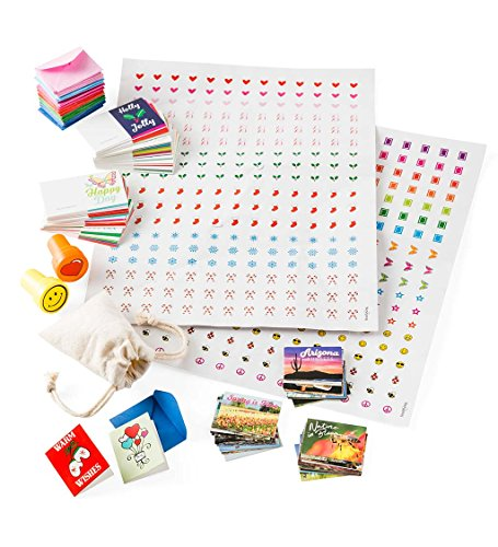 HearthSong® Itsy Bitsy Personalized Postcard and Letter Writing Kit for Kids, Includes Stamps, Seals, 72 Mini Cards, 36 Mini Postcards, Envelopes, Stickers, Mini Cotton Drawstring Mail Bag ()