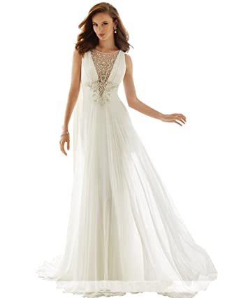JoyVany Simple and Elegant Beach Wedding Dresses Appliques Chiffon ...