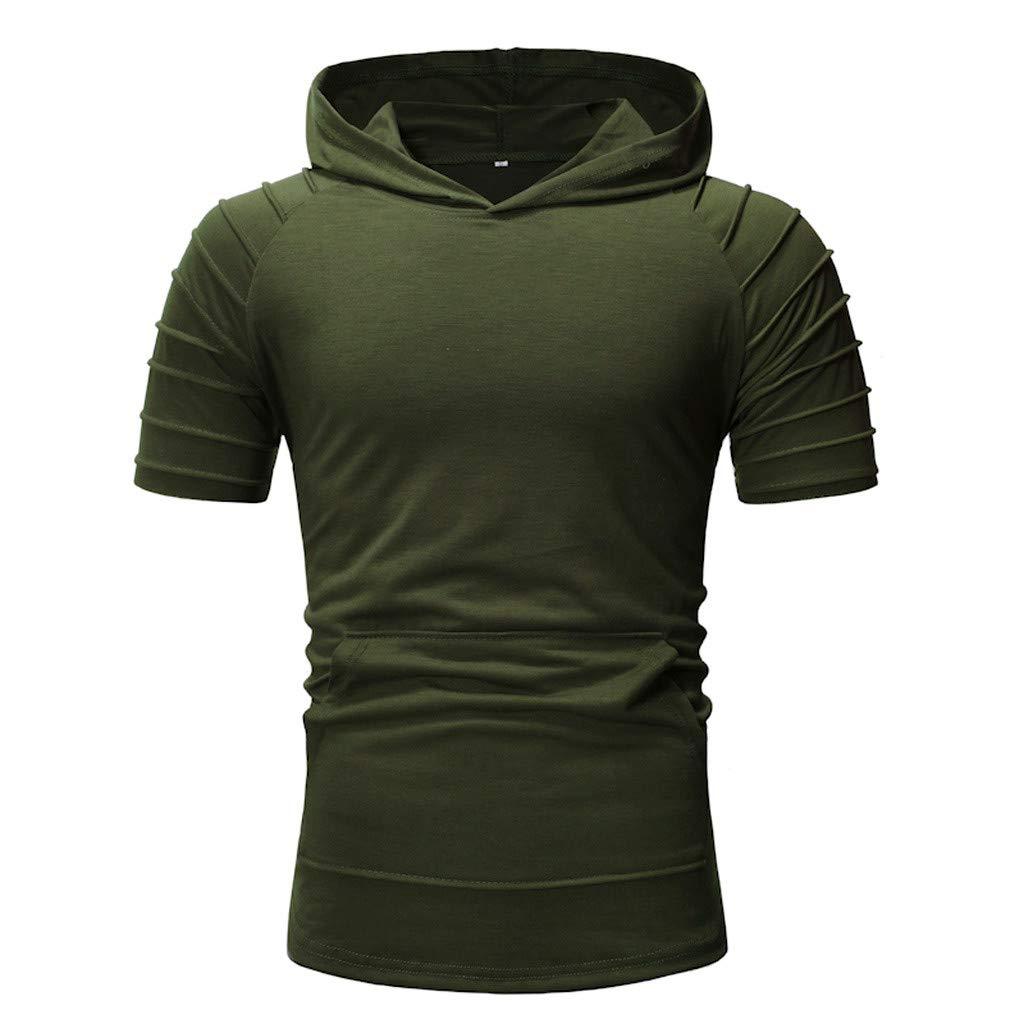 Big Sales Anewoneson//Mens Fashion Short Sleeve Summer Pleated Slim Pocket Pants Short Sleeve Hoodie Top