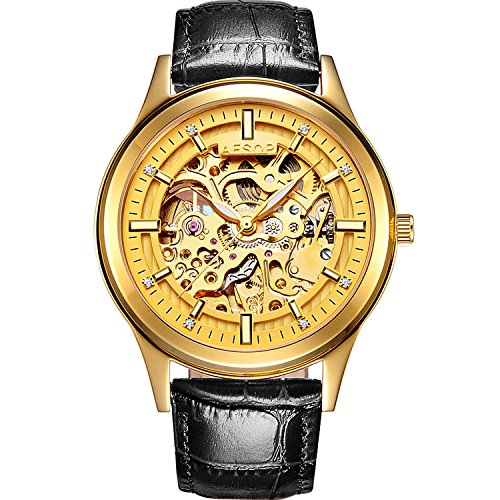 PASOY Men's Automatic Mechanical Watch Steel Sapphire Glass Luminous Hands Black Leather Skeleton Watches by PASOY