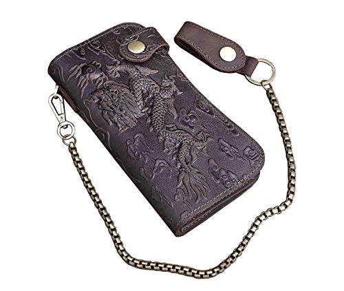 Dragon Vintage Biker Motorcylce Long Leather Card Houlder Wallet With Chain