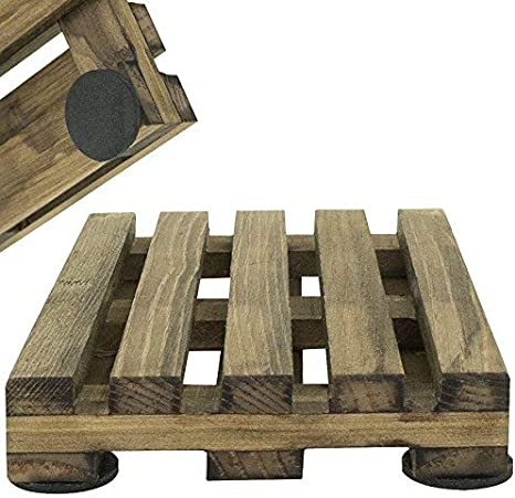 """Wooden Coasters w//Holder 6 Mini Wood Pallet Coasters 4/"""" Drink Party Coaster"""