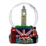 London Snow Globe with Big Ben and Union Jack Flag, (3.5 Inches Tall), 65mm London Snow Globe
