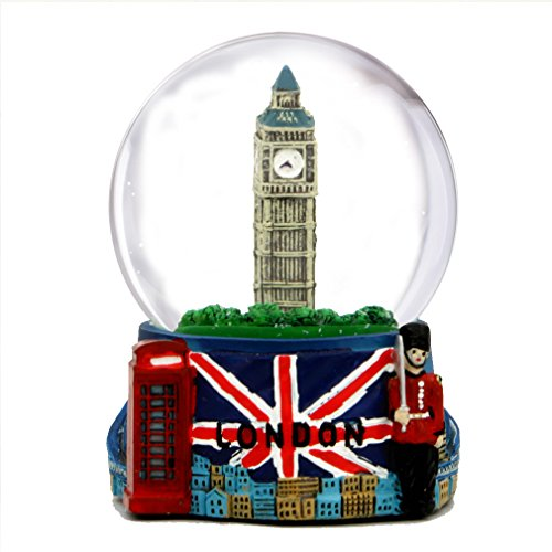 City-Souvenirs London Snow Globe with Big Ben and Union Jack Flag, (3.5 Inches Tall), 65mm London Snow Globe