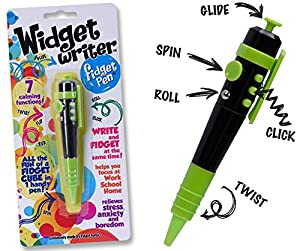 Widget Writer –Green Fidget Pen – The Fun of a Fidget Cube in One handy Pen – 7 Functions - Ideal for School or Office - ADHD, ADD, Anxiety, Autism, Attention & Stress Relief – Fidget Pen Focus Toys