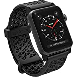 Catalyst Watch Band 42mm Hypoallergenic Compatible with Apple Watch Silicone Sports Bands (24mm) for Apple Watch Series 1, 2 & 3 and The 44mm Series 4,Breathable Wristbands, Stealth Black