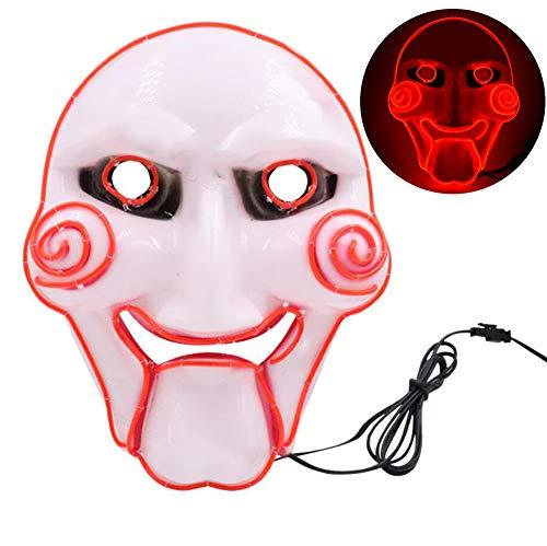 Halloween Chainsaw Scares (MBEN Halloween mask LED Light up mask El Cold Light mask led Glow mask Chainsaw Scare Dance Party Halloween Theme)