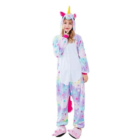 b1cb27bb5d7d HITSAN Winter kigurumis Pajamas Unisex Adult Women or Men Clothing one Piece  Animal Cosplay Sleepwear Purple tenma Home Party Star Unicorn Size S  ...