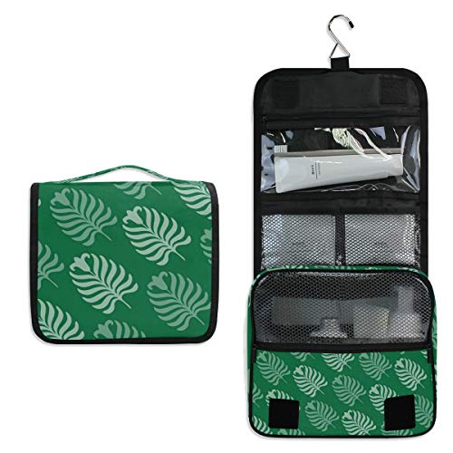 Hanging Toiletry Bag Palm Leaves Large Capacity Travel Bag for Women and Men - Toiletry Kit, Cosmetic Bag, Makeup Bag - Travel Accessories