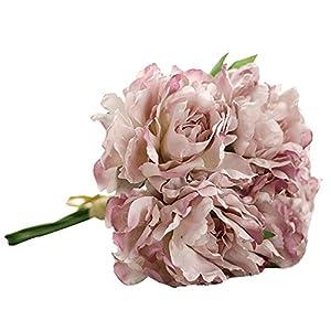 Magnolia Floral Bouquet,Han Shi Modern Artificial Fake Flowers Leaf Wedding Party Decor (S, Purple) 97