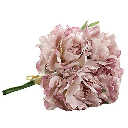 Magnolia Floral Bouquet,Han Shi Modern Artificial Fake Flowers Leaf Wedding Party Decor (S, Purple)