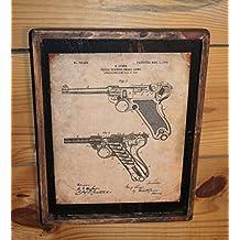 Framed Vintage Luger 1904 Original Patent Print Drawing
