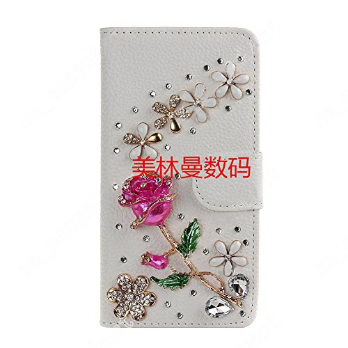 HandyCase Case for iPhone 4/4S, PU Leather Purse Case Card Holder White Luxury 3D Fashion Glitter Bling Diamond Pearl Flip Crystal Wallet Card Stand Cover - Rose
