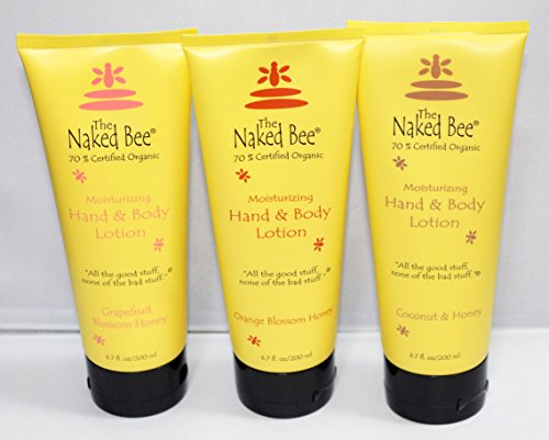 Naked Bee Hand & Body Lotion 3 Pack Variety Set 6.7 Oz Orange Blossom Honey, Grapefruit Blossom Honey and Coconut (Bee Moisturizing Orange Blossom Honey)