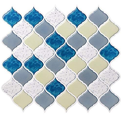 Peel and Stick Tile Backsplash for Kitchen Bathroom,Teal Arabesque Tile Backsplash,Mosaic Backsplash Sticker (8 Tiles) by HUE DECORATION (Image #7)