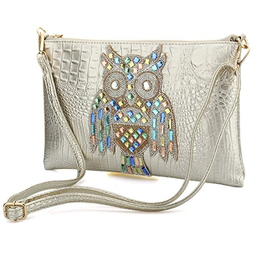 Purse Rhinestones Clutch Party Printed Cocktail Silver Prom Handbags Womens Skin Crocodile Owl Embossed 0qTHnw1xgF