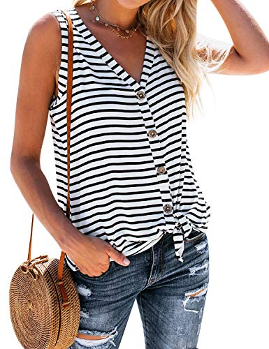 ZJP Women Casual Sleeveless Stripe Tank Tops V-Neck Button up Vest T-Shirts Tees