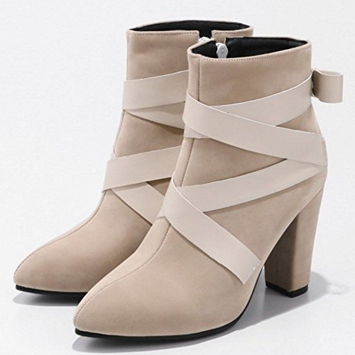 COOLCEPT Damen Mode Stiefel Zipper Beige-2