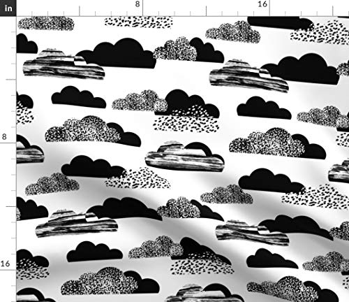 Black And White Fabric - Clouds Baby Kids Leggings Texture Ink Organic Kni Gender Neutral Print on Fabric by the Yard - Lightweight Cotton Twill for Sewing Bottomweight Fashion Apparel Home Decor