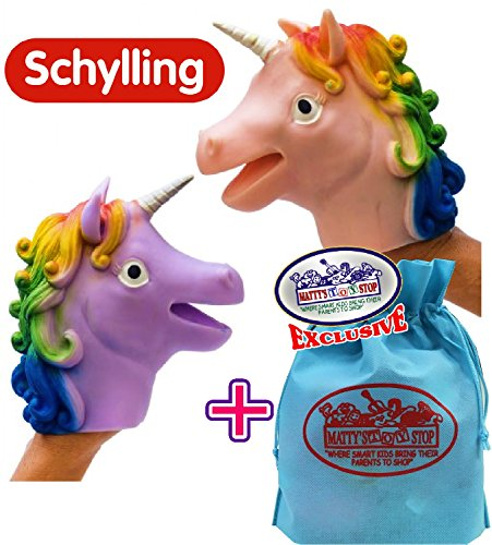 Schylling Unicorn Stretchy Hand Puppets Pink & Purple Complete Gift Set Bundle with Exclusive