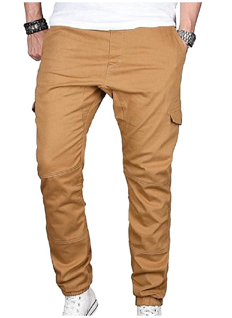 Vska Men Outfoor Pure Casual Relaxed-Fit Comfy Pockets Casual Trousers