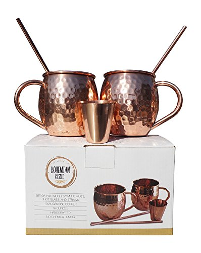 Hammered Moscow Mule Premium Barware Gift Set - Two 16 ounce Pure Copper Mugs, Straws & Shot Glass Included - Luxury In-Home Bar Accessories w/ Recipe eBook - De Party Songs Cinco For Mayo