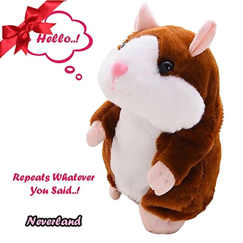 Neverland Talking Pet Hamster Electronic Animal Plush Toy - Mimics and Repeats After Words & Sounds for Kids Ages 4 - 100, Boys and Girls, Birthday(Brown)