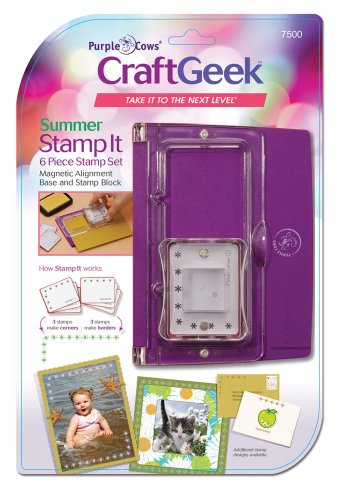 Purple Cows 7500 Craftgeek Stamp It, Includes Alignment Base, Acrylic Block, and 6-Piece Stamp Set, Purple