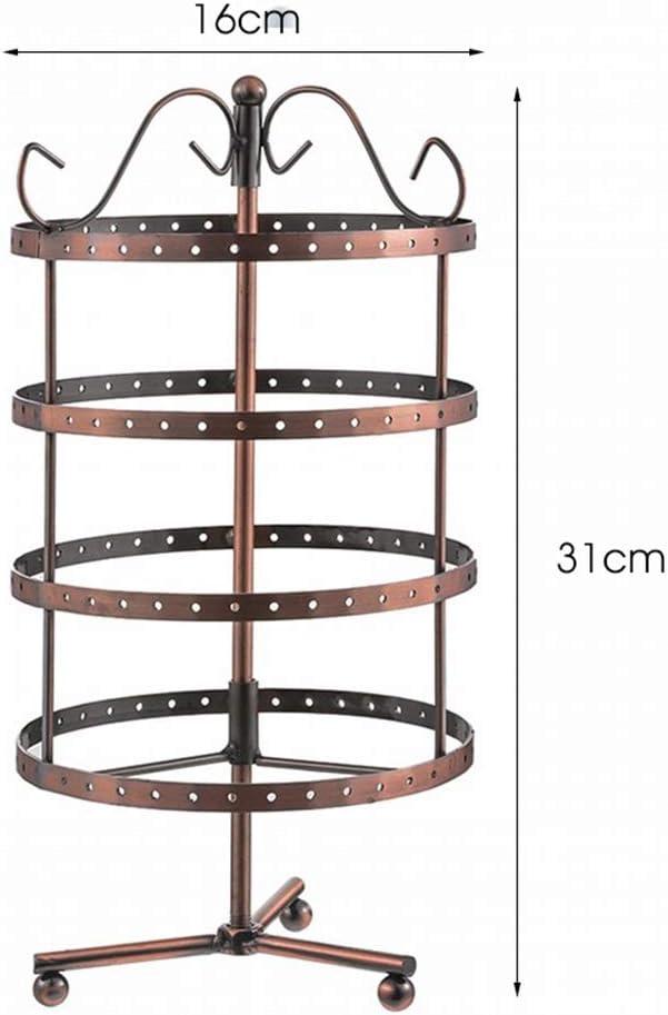 Color : Black Quatre couches 144 trous en fer forg/é Boucle doreille Bague Porte-/écran rotatif Collier Pendentif Bracelet Bijoux stand affichage
