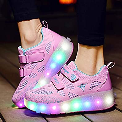 Ali-tone LED Chaussures /à roulettes Fille gar/çon Retractable Basket a Roulette Peut /être charg/é Via USB