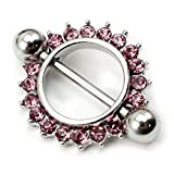 VANKER2Pcs Pink Sun Flower Circle Bar Nipple Shield - Best Reviews Guide