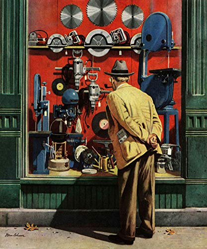 (Marmont Hill 29x24 Power Tool Window Shopping by Stevan Dohanos Painting Print on Wrapped Canvas, 29
