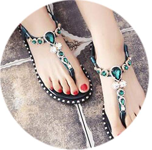 Fashion Leather Women Sandals Bohemian Diamond Slippers Women Flats Flip Flops Shoes Summer Beach Sandals Size ()