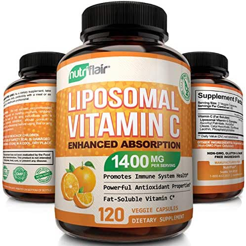 NutriFlair Liposomal Vitamin C 1400mg, 120 Capsules - High Absorption, Fat Soluble Vit C Antioxidant Supplement, Higher Bioavailability Immune System Support & Collagen Booster, High Dose Lypo Spheric