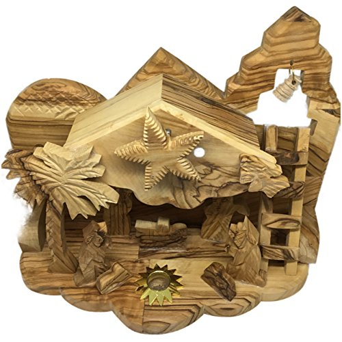 Christmas Music Nativity Set Olive Wood Hand Carved Biblical in Bethlehem (Wood Christmas Nativity Set)
