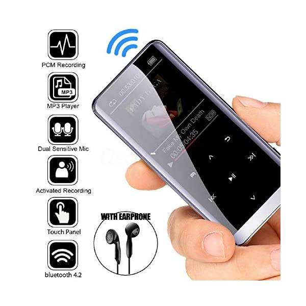 Bluetooth Mp3 Player Touch Mp 4hifi Lossless Sound Quality 5D Sound Effect PCM Recording Hyperboloid Glass Screen 16G, Black,Black 5
