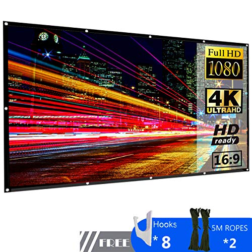 Projector Screen 100 inch 16:9 HD Outdoor Portable Foldable Anti-Crease Projection Screen Support Double Sided Projection