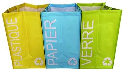Alinéa Recy - Juego de 3 Bolsas de Reciclaje Verde/Turquesa ...