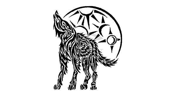 Lobo aullando tatuaje tribal, vinilo adhesivo, pegatinas - 50cm ...
