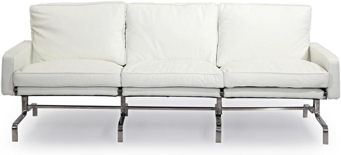 Kardiel PK31 Style Modern 3 Seat Sofa, Arctic White Aniline Premium Leather