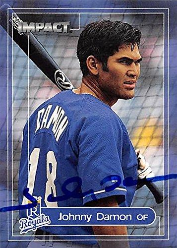 Johnny Damon autographed baseball card (Kansas City Royals, SC) 2000 Skybox Impact #107 - MLB Autographed Baseball Cards
