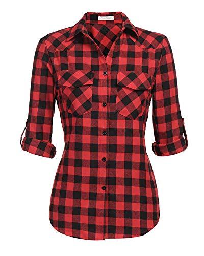 (Genhoo Women's Roll Up Long Sleeve Tartan Plaid Collared Button Down Boyfriend Casual Flannel Shirt Top (Red,XL))