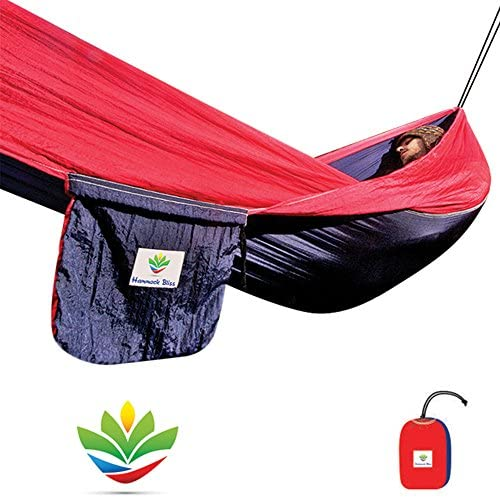 Hammock Bliss Single – Quality You Can Trust – 100 Rope Per Side Included – Portable Hammock Ideal for Camping, Backpacking, Kayaking Travel
