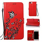 iPhone 8 Plus Case, CUSKING Wallet Case Butterfly Flower Pattern Kickstand Shockproof Cover
