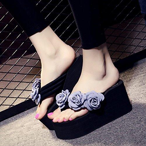 Moda hechas Slip Transpirable playa la zapatillas Flip Zapatillas Toda mano pendiente 8cm a inferior Las Flores con de Sandalias Ajunr correspondencia elegante gris 41 Ocio Flops 37 Espesor XqwfOdd