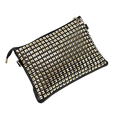 FUNOC® Hot Womens Large PU Leather Rivet Stud Envelope Tote Bag Clutch Purse Handbag