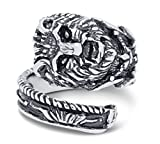 Silver-Wear Swirls Sterling Silver Antique Finish African Lion Spoon Style Ring